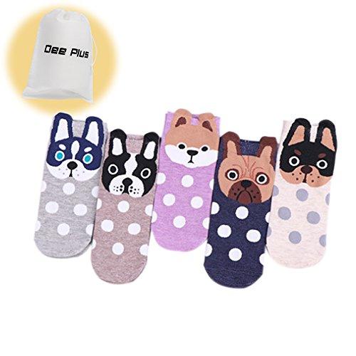 Dee Plus Women's Mädchen Socken 5 Pack,Lustige Nette Pet Hunde Malerei Cartoon Süße Design,Sommersaison Tierohren Frauen Casual Socken-Geschenk Aufbewahrungstasche
