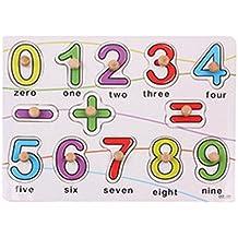 hibote 13 piezas clásicas clavija de madera Rompecabezas, Niños temprana de número y símbolo Juguetes educativos de aprendizaje, colores de madera Puzzle juguetes para los niños de los niños
