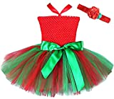 FANCYINN Baby Mädchen Weihnachts Tutu Kleid Häkeln Sie Tube Top Party Pettiskirt mit Stirnband L