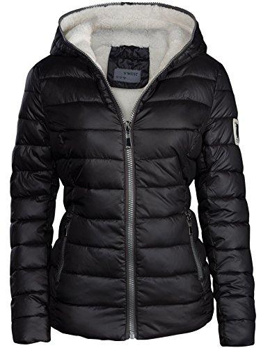 Giacca invernale da donna cappuccio imbottiti corta piumino effetto trapuntato giacca da sci caldo New nero L