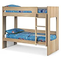Wooden Bunk Bed, Happy Beds Ellie Oak Wood Modern Twin Sleeper - 3ft Single (90 x 190 cm) with 2 x Spring Mattresses Included