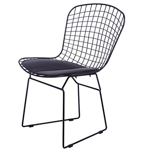 Eisen-bistro-stuhl (YSDHE Openwork Eisendraht Stuhl Rückenlehne Stuhl im Freien Moderne Freizeit Stuhl Esstisch Stuhl Konferenzstuhl europäischen Stil einfachen hohlen Eisen Stuhl (Farbe : Black pad))