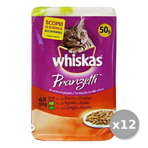 Whiskas Set 12 PRANZETTI X 6 Bustine Manzo-Agnello-Coniglio AE14H Cibo per Gatti