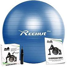 Pelota de entrenamiento con bomba para hinchar y manual para utilizarla en ejercicios de yoga, equilibrio, entrenamiento, fitness, viene en diferentes tamaños 45cm, 55cm, 65cm, 75cm, 85cm, de la marca Reehut , azul, 75 cm