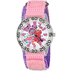 eWatchFactory Girl's 'Sesame Street' Quartz Plastic and Nylon Automatic Watch, Color:Pink (Model: W003196)