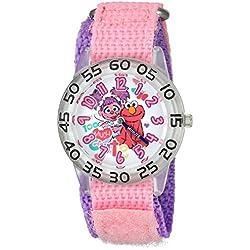 eWatchFactory Girl's 'Sesame Street' Quartz Plastic and Nylon Automatic Watch, Color:Pink (Model: W003196)