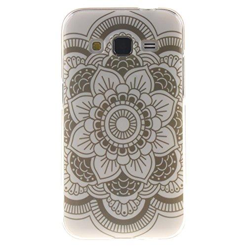 Cozy Hut Schutzhülle / Cover / Case Bunte Muster Weich TPU Handy Hülle für Samsung Galaxy Core Prime G360 G360F,Ultra Slim Dünn Silikon TPU Transparent für Samsung Galaxy Core Prime (Blatt Tasche Kostüm)