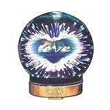 Izzya JS0125 3D 7 Farbe Einstellbar Nachtlicht Ätherisches Öl Ultraschall Aromazerstäuber Wasserlose Automatische Abschaltung 100Ml Luftbefeuchter Glasabdeckung