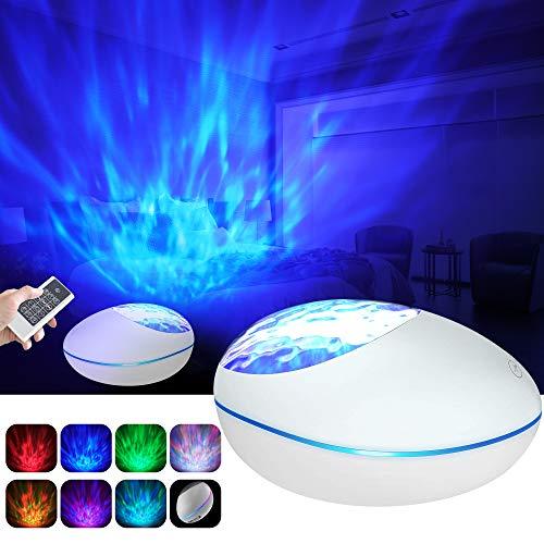 Projektor Lampe Ozeanwellen Projektor Kinder Nachtlicht mit Bluetooth 5.0, Fernbedienung und Timer 360° Drehen 8 Beleuchtungsmodi und 8 Musik, TF-Karte AUX Stimmungslicht für Geschenk (Weiß)