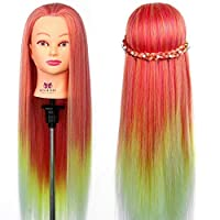 """Neverland Hairdressing Training Head 28"""" 100% Synthetic Fiber Hair Cosmetology Manikin Doll Multicolored Mannequin head with Clamp"""