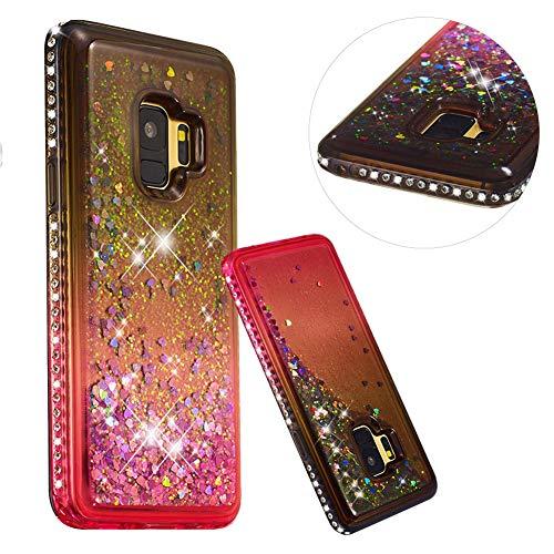 Preisvergleich Produktbild Kristall Transparent Hülle für Samsung Galaxy S9, CESTOR Diamond Edge Flüssig Treibsand Ultra Dünn Weich Silikon TPU Bling Glänzend Dauerhaft Schutzhülle für Samsung Galaxy S9, Grau + Pink