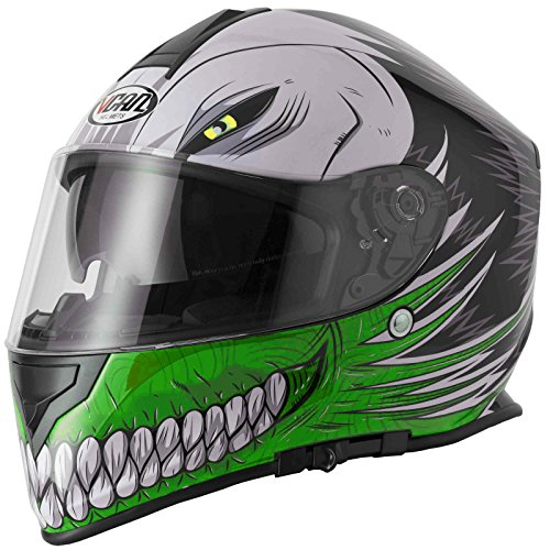 Caschi integrali VCAN V127 HOLLOW SKULL Nuovo Casco moto sportivi Racing Casco integrale Touring, Verde (XL)