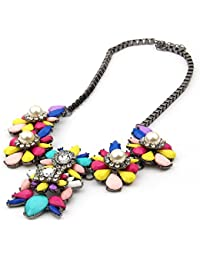 Doll Up Women Charm Choker Necklace Rhinestone Chunky Statement Big Flower Necklace And Pendant