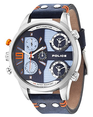 Police Men's Blue Leather Strap Watch