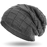 Compagno warm gefütterte Beanie Wintermütze Flechtmuster unifarben oder meliert mit weichem Fleece-Futter Mütze, Farbe:Grau