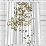 Duschvorhang Textil ~ Motiv: Mokaï ~ Maße: 180 x 200 cm ~ 100 % Polyester ~ mit 12 Ösen ~ ohne Duschringe ~ waschbar