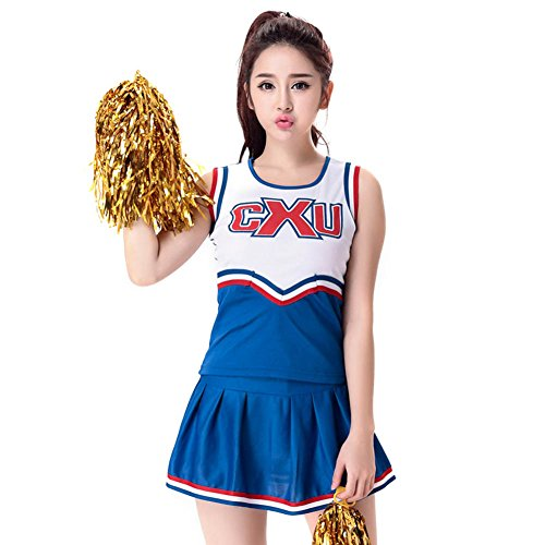 (G-Kids Damen Cheerleader Kostüm Cheerleading Uniform Karneval Fasching Party Halloween Kostüm Partkleid Minirock mit 2 Pompoms+ Socks (S, Blau))