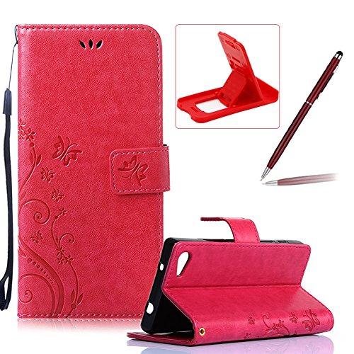 Für Sony Z5 Mini Hülle Lanyard Leder Brieftasche Case,Für Sony Z5 Mini Strap Schutztasche Leder Hülle,Herzzer Prämie Einfarbig [Schmetterling Blätter Geprägte Geschnitzte] PU Leder Geldbörse Bookstyle Rot