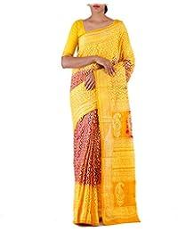 Unnati Silks Women Red-Orange Pure Jaipuri Printed Cotton Saree(UNM22158