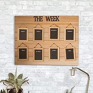 HomeZone® Hängeorganizer aus Holz zum Aufhängen Memoboard, Tagesnotizen, Lebensmittelliste, To-Do-Liste, schwarze Tafel, Wand-Organizer, Wochenplaner, Kreidetafel
