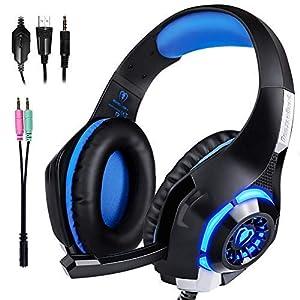 ARINO GM-1 Gaming Headset Gaming Audio Musick Kopfhörer Ohrhörer mit Mikrofon und LED-Licht für PS4 Xbox One PC Handy Schwarz (Blau)