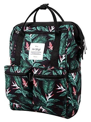 HotStyle DISA Fashion Blumen Damen Laptop Rucksack 9,7 zoll (37x23x14cm) - Schwarz