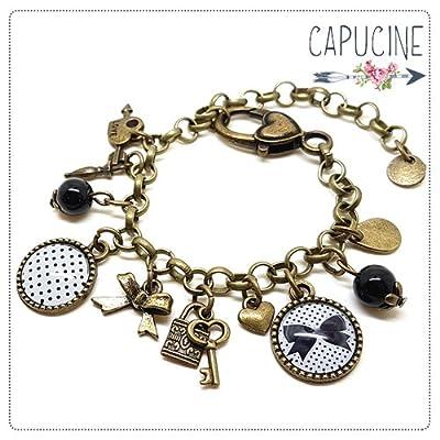 Bracelet chaîne maille ronde avec cabochons et breloque thème noeud et pois - bracelet breloques bronze - bracelet nœud et pois - cadeau de noël, cadeau saint valentin, cadeau fête des mères