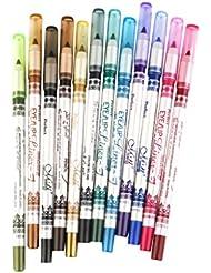 Lot de 12pcs 12 Couleurs Crayon Eye-liner pour les Yeux Etanche