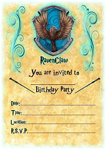 Harry Potter Geburtstag Party lädt–Hogwarts Ravenclaw Thema Party Deko/Zubehör (12Stück A5Einladungen) WITH Envelopes
