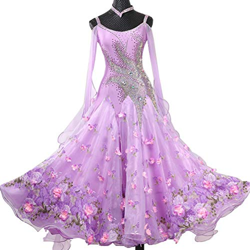 Kostüm Flamenco Tanz Muster - Professional Standard Gesellschaftstanz Turnierkleid Lange Ärmel High-End Tango-Tanzkleid Großer Swing Rock Walzer Modernes Stage Performance Kostüm,Purple,Customize