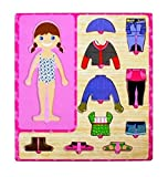 CraftDev Wooden Toys Wooden Dress-up Girl Puzzle Shape Board Game - Learning & Educational Toys for Kids and Children (GIRL)