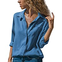 Hanomes Damen pullover, Frauen Casual Solide Umlegekragen Langarm Pocket Button Tops Bluse Shirt preisvergleich bei billige-tabletten.eu