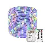 100L Lichterschlauch Micro Lichterkette mit 8 Modus Dimmbar Timer Fernbedienung Batteriebetrieben Deko für Außen Innen gresonic (Bunt, 100 LED)