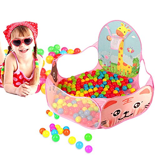 Kinderspielzelt Ball Pit - Rosa Faltbar Children Zelt Bällebad Baby Bällen Storage Bag Playpen Ball Pit für Kind mit Basketballkorb