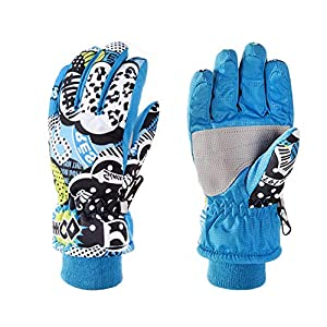EisEyen Skihandschuhe Winter Snowboard Ski Handschuhe für Kinder Jungen Wasserdichtes Winddichtes Gleitschutz Schnee Handschu für Skaten Skifahren Snowboardfahren