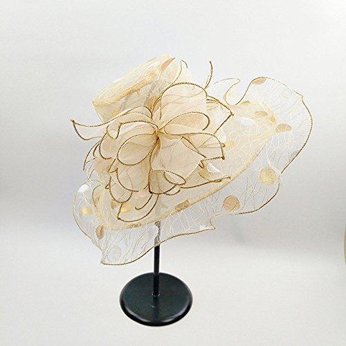 JIUZHOUCAI Flor de organza ala ancha playa Hat para mujer verano  transpirable. a29f4ea7148