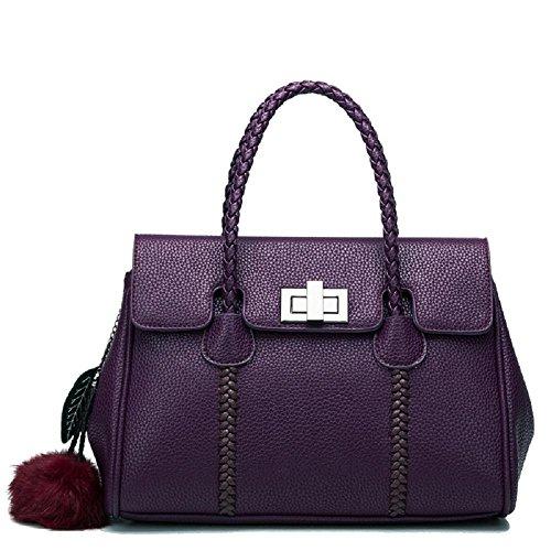 CELO in pelle goffrata spalla borsa casuale diagonale pacchetto Ms europea e americana della moda platino borsa da polso in pelle , gray purple
