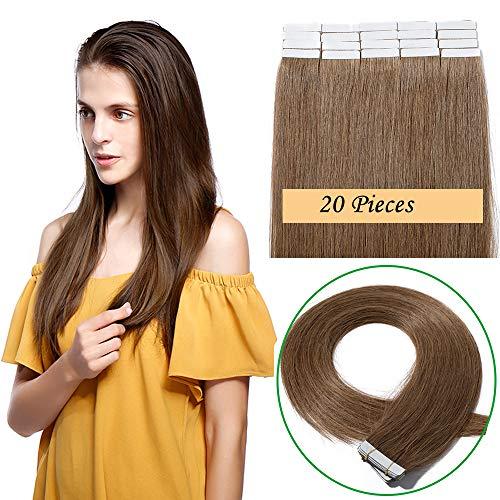 30cm-60cm extension capelli veri biadesivo 20 fasce adesive 50g tape extension remy human hair lisci naturali 2.5g/fascia (45cm #6 marrone chiaro)