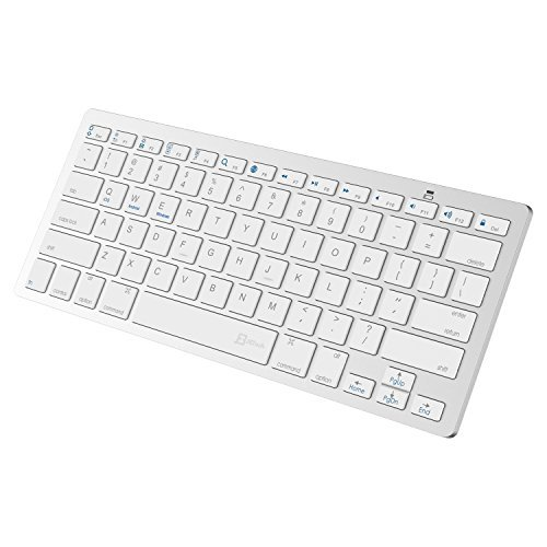 JETech Ultra-Delgado Bluetooth Mini Teclado Inalámbrico para iPhone, iPad Pro, iPad Air, iPad Mini, iPad 2/3/4, Calaxy Tab, Mac, Windows y Todas las Instalaciónes con la Tecnología de Bluetooth (Blanco) - 2156