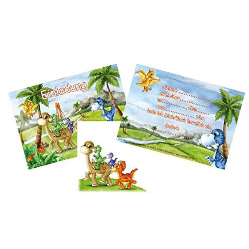 12-teiliges Einladungen-Set * DINOSAURIER * mit 6 Einladungskarten und 6 Umschläge für Kindergeburtstag // Kinder Geburtstag Party Einladung Karten Dino T-Rex Dinos Saurier (T-rex Geburtstag Karte)