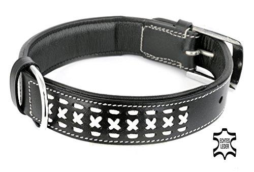Leder Hundehalsband aus weichem Rindsleder, innen gepolstert, schwarz, breit, weiße Zierflechtung, für große Hunde Stoff, XL, Premium Qualität (35mm x 55cm) von Monkimau - Dein bester Freund. Immer dabei!