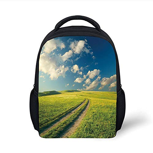Kids School Backpack Nature,Grass Path Clouds Sky Serene Sun Spring Rural Country Panorama Art,Dark Blue Apple Green White Plain Bookbag Travel Daypack - Country Path Light