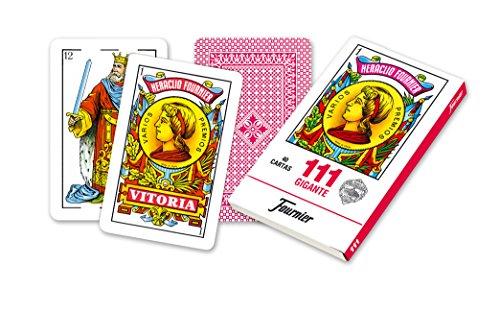 Fournier - Nº 111 Gigante, cartas españolas, color rojo (F21597)