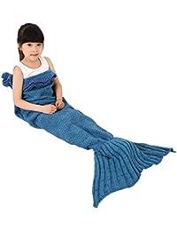 Okayshop Couverture queue de sirène tricotée pour enfant Sac de couchage chaud 135 x 65 cm