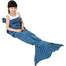 Pour Enfant Motif queue de sirène en crochet, okayshop fabriqué à tricoter Sac de couchage pour filles, toutes saisons Couverture Canapé Salon chaud, 135cmX65cm (134,6x 66cm)