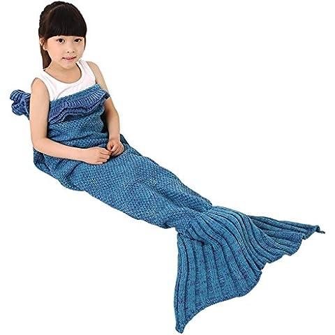 Bambini Crochet maglia sirena coda coperta, okayshop Handcraft Sacco a pelo per ragazze, tutte le stagioni coperta divano salotto, 135cmx65cm (134,6x 66cm) blu