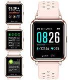 Smartwatch Orologio Fitness Trakcer Pressione Sanguigna Monitor Cardiofrequenzimetro da Polso Bluetooth Smart Watch Schermo a Colori Impermeabile IP67 per Donna Uomo (Rose)