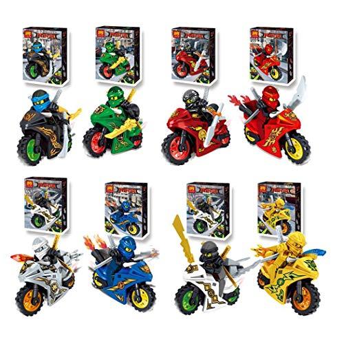 Yagot 8 unids Bloques de motocicletas de dibujos animados Niños Juegos de edificio de ladrillos educativos Juguete Juguetes educativos entrega aleatoria