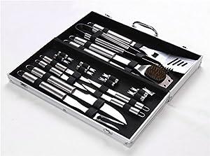 Holzsammlung® 18 teilig Edelstahl Grillbesteck Barbeque im Aluminium-Koffer #2