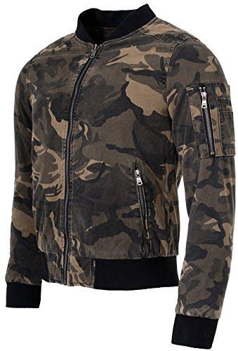Young & Rich Herren Bomberjacke Fliegerjacke Übergangsjacke camouflage Optik Tarnmuster Look JK-451 Slimfit Übergang Jacke - 3